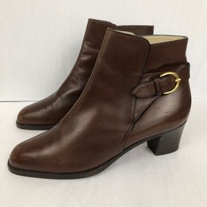 Bally Lilla Leather Buckle Heel Ankle Booties
